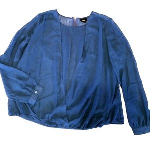 Mossimo Sheer Surplice Style Blue Top